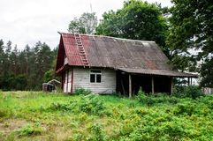 Casa padronale abbandonata in Nalibokskaya Pushcha Immagine Stock Libera da Diritti