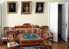 Casa padronale interna del salone nella proprietà di famiglia di Lermont Fotografia Stock Libera da Diritti