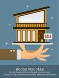 Casa para la venta en la mano grande stock de ilustración