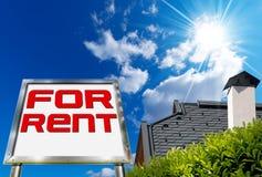 Casa para o aluguel - quadro de avisos grande de Chrome Imagem de Stock