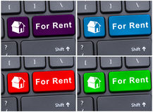 Casa para o conceito do aluguel em botões do portátil Imagem de Stock