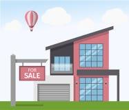 Casa para o sinal da venda Ilustração do vetor no estilo liso Fotografia de Stock