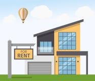 Casa para o sinal do aluguel Ilustração do vetor no estilo liso Imagens de Stock Royalty Free