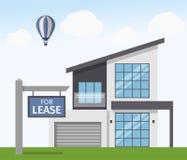Casa para o sinal do aluguer Ilustração do vetor no estilo liso Imagens de Stock Royalty Free