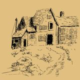 Casa a penna ed inchiostro a mano libera del cottage Immagini Stock Libere da Diritti