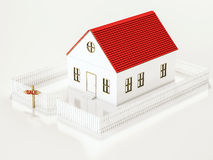 Casa pequena com a placa da cerca e de sinal da VENDA, 3d rendido ilustração stock