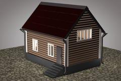 Casa pequena com telhado vermelho Foto de Stock
