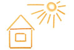 Casa pequena e o sol Imagem de Stock Royalty Free