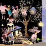 Casa pequena louca, casa desarrumado louca Imagens de Stock Royalty Free