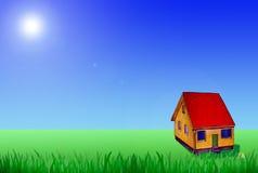 Casa pequena no campo Imagem de Stock Royalty Free