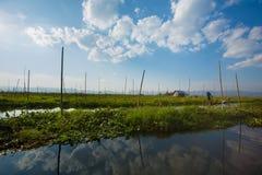 Casa peraltada en el lago Inle Fotografía de archivo libre de regalías