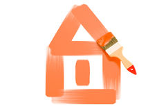 Casa pintada com pincel, rendição 3D Fotografia de Stock