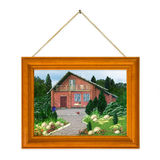Casa pintada en marco Fotografía de archivo