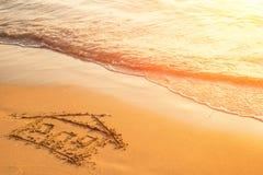 Casa pintada na areia da praia Curso Fotografia de Stock Royalty Free