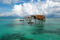 Casa pomposa del laut di Bajau Fotografie Stock Libere da Diritti