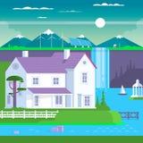 Casa prefabbricata moderna della famiglia, illustrazione di vettore Fotografia Stock