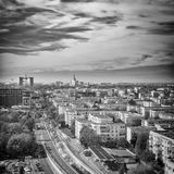 Casa Presei Libere - Bucharest, Romania Freedom of the Press House. View from Floreasca - black and white Royalty Free Stock Photography