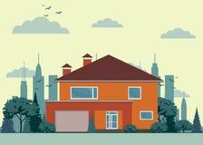Casa privada con el garaje Fotografía de archivo libre de regalías