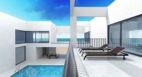 Casa privada del verano con la piscina y la terraza Fotografía de archivo libre de regalías
