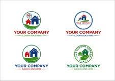 Casa, propiedades inmobiliarias, paisaje, tierra, logotipo, diseño Fotografía de archivo libre de regalías