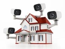 Casa protegida con las c?maras de vigilancia del CCTV ilustraci?n 3D