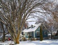 Casa que enmarca de los árboles Foto de archivo