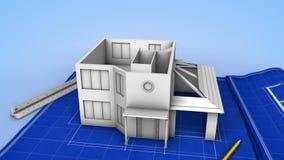 Casa que está sendo construída em um modelo ilustração stock