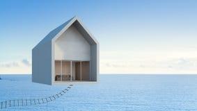 Casa que flota en el cielo, arte arquitectónico de la opinión del mar del concepto Foto de archivo libre de regalías