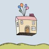 Casa que flutua afastado ilustração stock