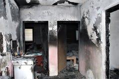Casa queimada: corredor e salas Imagem de Stock