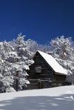 Casa rústica en nieve Fotos de archivo