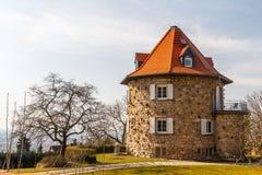Casa redonda na cidade pequena de Heppenheim Imagem de Stock