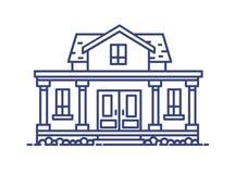 Casa residencial de dos pisos con el pórtico y las columnas construidos en estilo arquitectónico clásico Edificio elegante dibuja stock de ilustración
