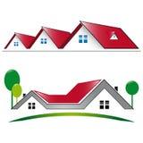 Casa residencial do ícone com telhado vermelho Foto de Stock