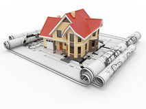 Casa residencial em modelos do arquiteto. Fotografia de Stock
