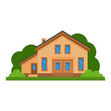 Casa residencial lisa colorida Arquitetura residencial privada Casa familiar Casa tradicional e moderna Vetor liso IL do estilo Imagem de Stock Royalty Free