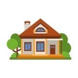 Casa residencial lisa colorida Arquitetura residencial privada Casa familiar Casa tradicional e moderna Vetor liso IL do estilo Imagens de Stock Royalty Free