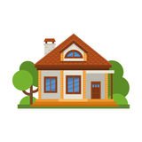 Casa residencial plana colorida Arquitectura residencial privada Domicilio familiar Casa tradicional y moderna Vector plano IL de Imágenes de archivo libres de regalías