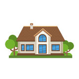 Casa residencial plana colorida Arquitectura residencial privada Domicilio familiar Casa tradicional y moderna Vector plano IL de Foto de archivo libre de regalías