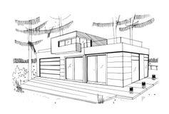 casa residencial privada moderna Dé exhausto, contorno, ejemplo blanco y negro del bosquejo ilustración del vector