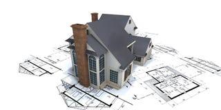 Casa residenziale su plans2 illustrazione di stock