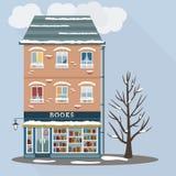 Casa retra con la tienda de libros Fotografía de archivo libre de regalías