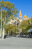 Casa Rocanova in Barcelona. Barcelona, Spain - November 10, 2018: View from the Plaza de Cataluna Catalonia Square at the Casa Rocanova, building on the Paseo de royalty free stock images