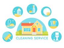 Casa rodeada limpiando imágenes de los servicios Iconos redondos de los agentes y de las herramientas de limpieza del hogar fotos de archivo libres de regalías