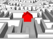 Casa roja en laberinto stock de ilustración