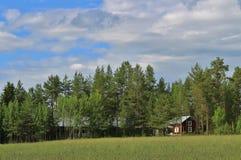 Casa roja en Norrbotten Fotografía de archivo
