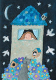 Casa romantica nella notte Immagine Stock