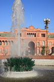 Casa Rosada. (Pink House), the government building of Argentina in Buenos Aires, behind a fountain at Plaza de Mayo Royalty Free Stock Image