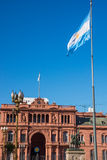 Casa Rosada and an argentinean flag Stock Image