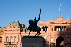 Casa Rosada (pink house) Buenos Aires Argentina. General Belgrano monument in front of Casa Rosada (pink house) Buenos Aires Argentina Stock Photos